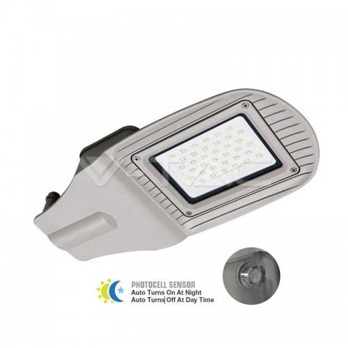 50W SMD Улична Лампа Със Сензор Сиво Тяло