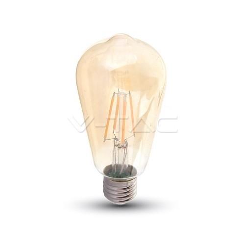 LED Крушка - 8W E27 Filament ST64 Топло Бяла Светлина