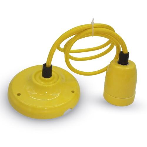 Пендел Порцеланова Фасунга E27 Жълт