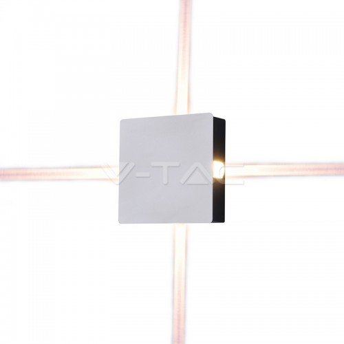 4W Стенна Лампа Бяло Тяло Квадрат Топло Бяла Светлина IP65