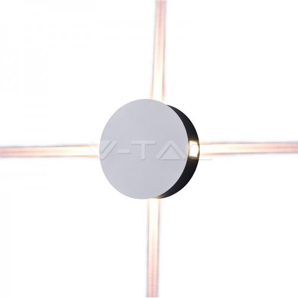 4W Стенна Лампа Бяло Тяло Кръг Топло Бяла Светлина IP65
