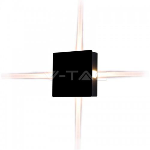4W Стенна Лампа Черно Тяло Квадрат Топло Бяла Светлина IP65