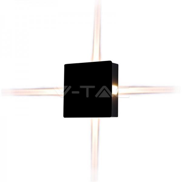 4W Стенна Лампа Черно Тяло Квадрат Неутрална Светлина IP65