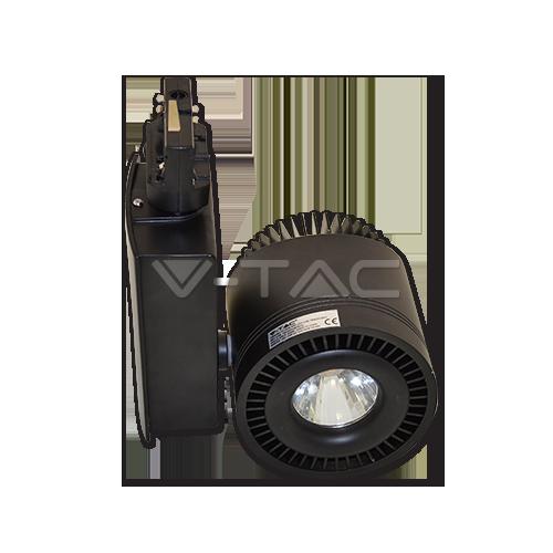 45W LED COB Прожектор Релсов Монтаж черно Тяло Неутрално Бяла Светлина