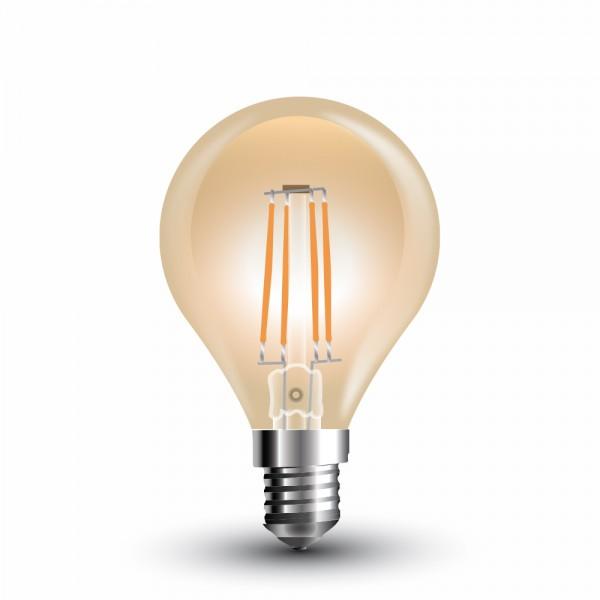 LED Крушка - 4W Filament E14 P45 Amber Покритие Топло Бяла Светлина