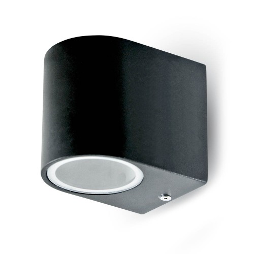 Фасадно Тяло За Стена GU10 Алуминий Кръг Черно Една Посока IP44