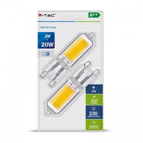 LED Крушка - 2W 230V G9 Пластик 2700K 2бр/сет