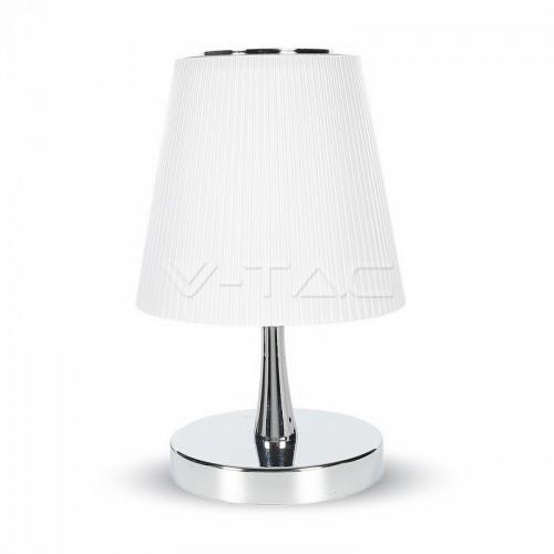5W Настолна Лампа Неутрално Бяла Светлина Тяло Хром Бял Абажур