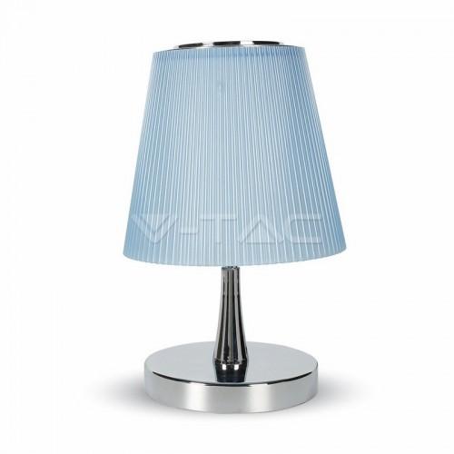 5W Настолна Лампа Неутрално Бяла Светлина Тяло Хром Син Абажур