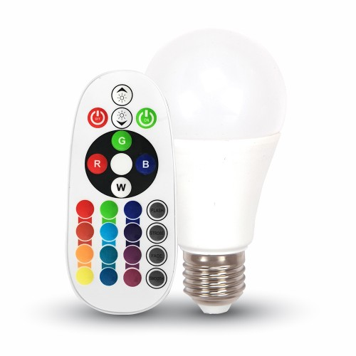 LED Крушка - 6W E27 A60 RGB С Дистанционно Блистер