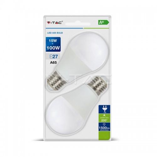 LED Крушка - 15W E27 A65 Термо Пластик 2бр.