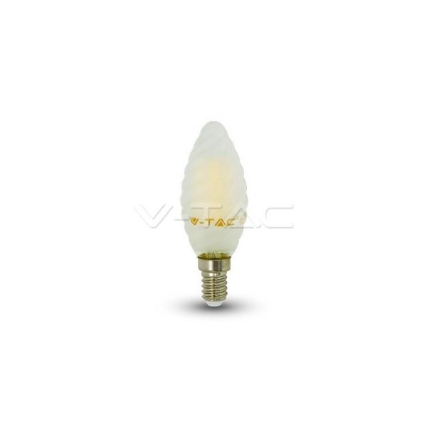 LED Крушка - 4W Filament Кръст E14 Мат Кендъл Спирала Неутрална Светлина