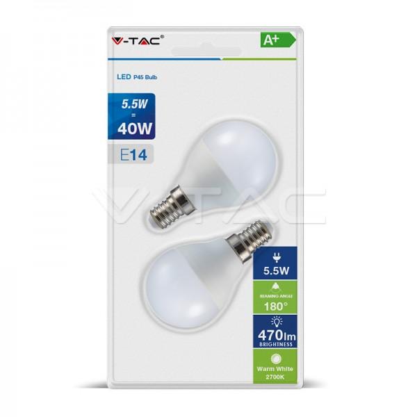 LED Крушка - 5.5W E14 P45 2Бр/Сет