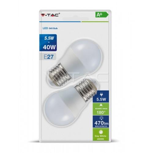 LED Крушка - 5.5W E27 G45 2Бр/Сет