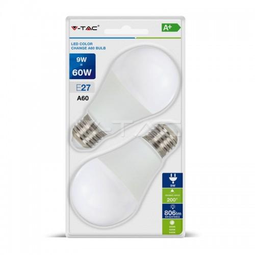 LED Крушка 9W А60 Е27 Смяна на Цвета 2бр.