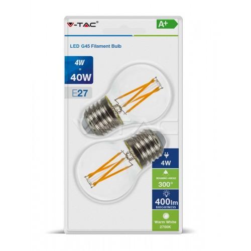 LED Крушка - 4W Filament E27 G45 Топло Бяла Светлина 2БР/Блистер