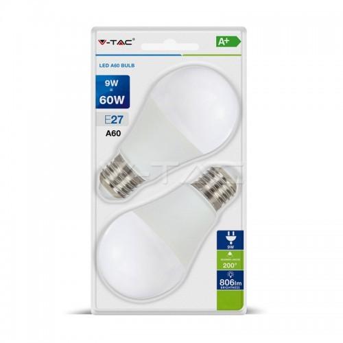 LED Крушка - 9W E27 A60 Термо Пластик 2Бр/Блистер