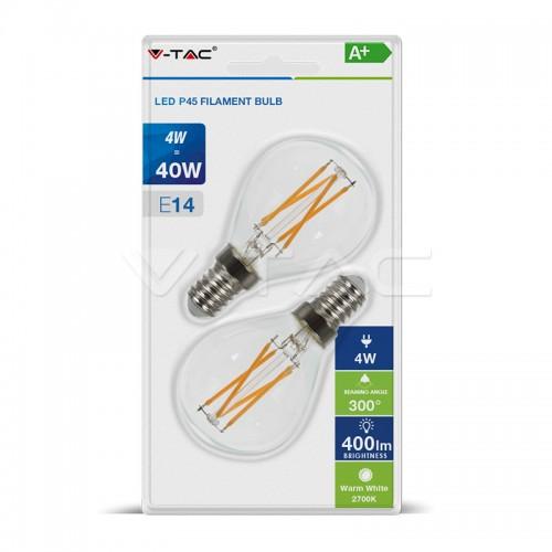 LED Крушка - 4W Кръстосан Filament E14 P45 Мат Топла светлина 2БР/Блистер