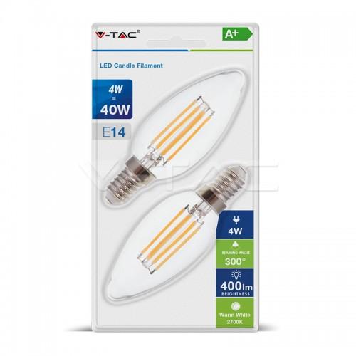 LED Крушка - 4W Filament E14 Кендъл Мат Топла светлина 2БР/Блистер