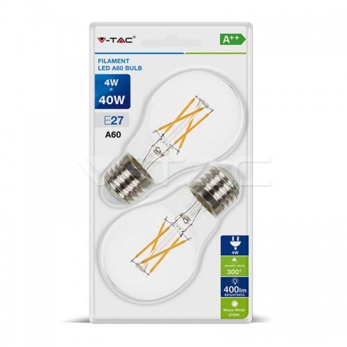 LED Крушка - 4W Filament E27 A60 Топло Бяла Светлина 2бр.