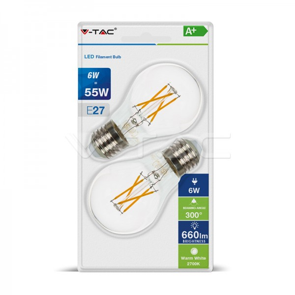 LED Крушка - 6W Filament E27 A60 Топло Бяла Светлина 2Бр/Сет