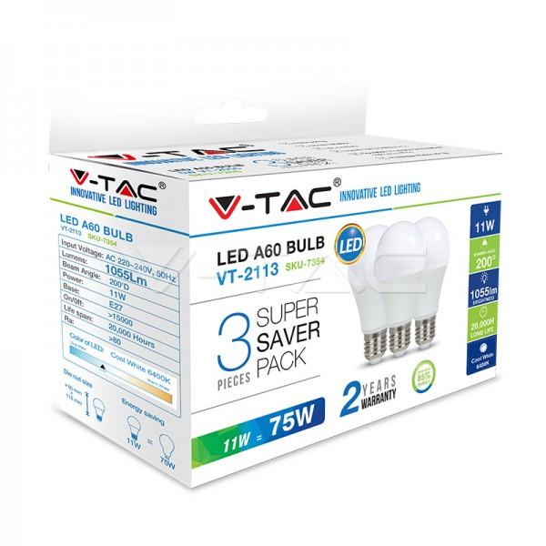 LED Крушка - 5W E27 A55 Термо Пластик 3Бр/Сет