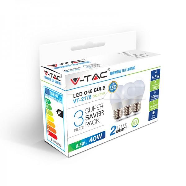 LED Крушка - 5.5W E27 G45 3Бр/Сет