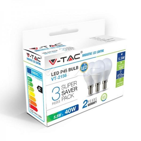 LED Крушка - 5.5W E14 P45 3Бр/Сет