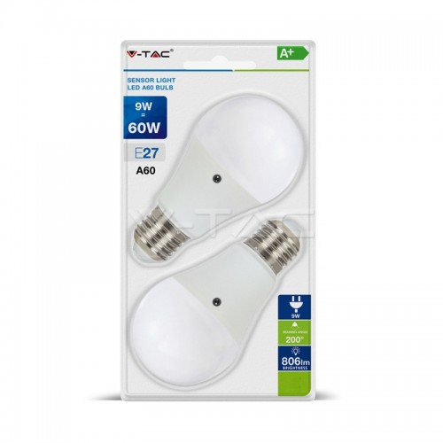 LED Крушка 9W А60 Е27 Сензор Блистер 2 бр.