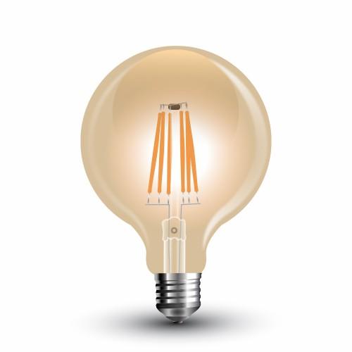 LED Крушка - 6W Filament E27 G125 Amber Топло Бяла СветлинаLED Крушка - 6W Filament E27 G125 Amber Топло Бяла Светлина