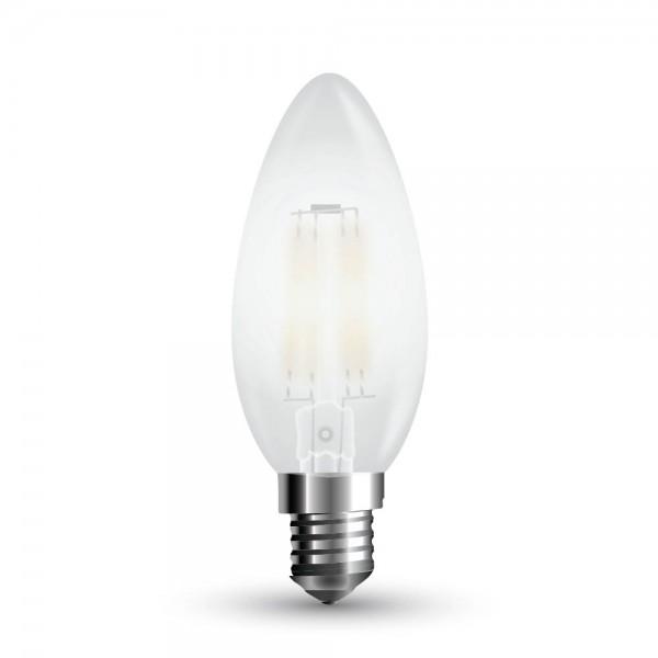 LED Крушка - 4W Filament E14 Кендъл Матирано Покритие Топло Бяла Светлина Димируема