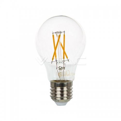LED Крушка - 4W Filament Кръстосан E27 A60 Топло Бяла Светлина Димируема