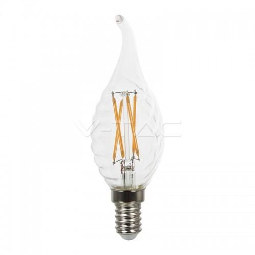 LED Крушка - 4W Filament E14 Кендъл Спирала Пламък Топло Бяла Светлина Димируема