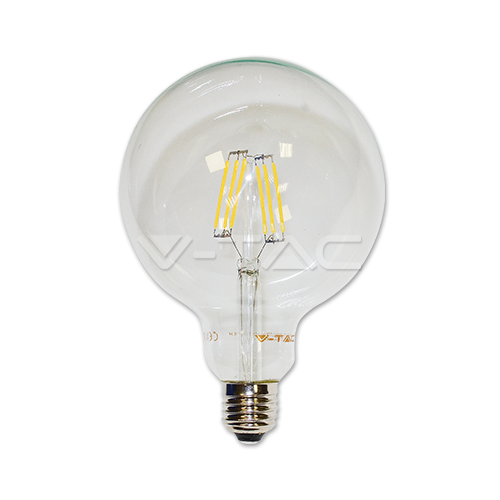 LED Крушка - 6W Filament E27 G125 Топло Бяла Светлина