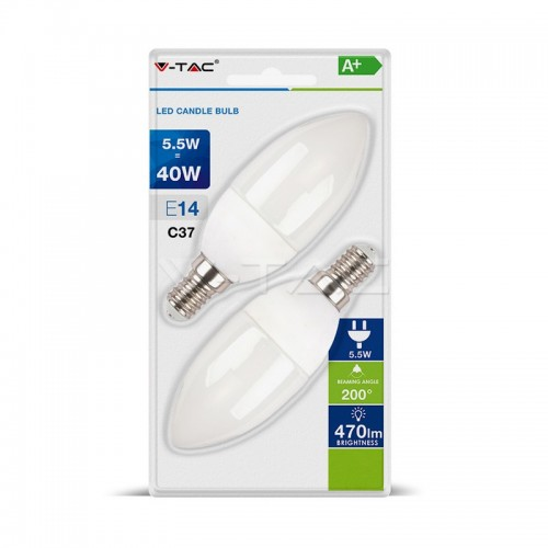 LED Крушка - 5.5W E14 Кендъл Неутрално 2Бр/Блистер