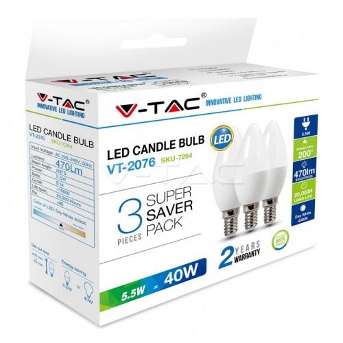 LED Крушка - 5.5W E14 Кендъл 3Бр/Сет