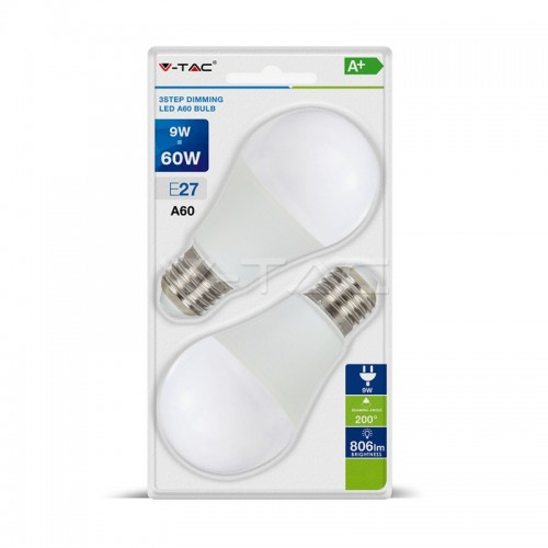 LED Крушка 9W А60 Е27 3-Степенно Димиране Блистер 2 бр.