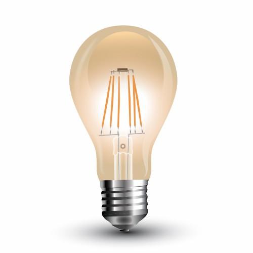 LED Крушка - 4W E27 Filament Amber Топло Бяла Светлина