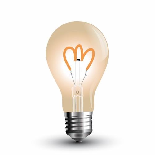 LED Крушка - 3W E27 Filament Златно Стъкло A60 Топло Бяла Светлина