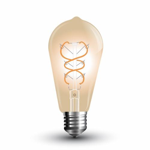 LED Крушка - 5W E27 Filament Златно Стъкло ST64 Топло Бяла Светлина