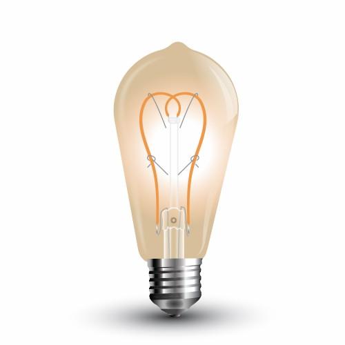 LED Крушка - 5W E27 Long Filament Златно Стъкло ST64 Топло Бяла Светлина