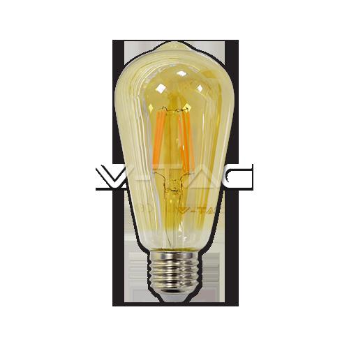 LED Крушка - 6W E27 Filament ST64 Топло Бяла Светлина