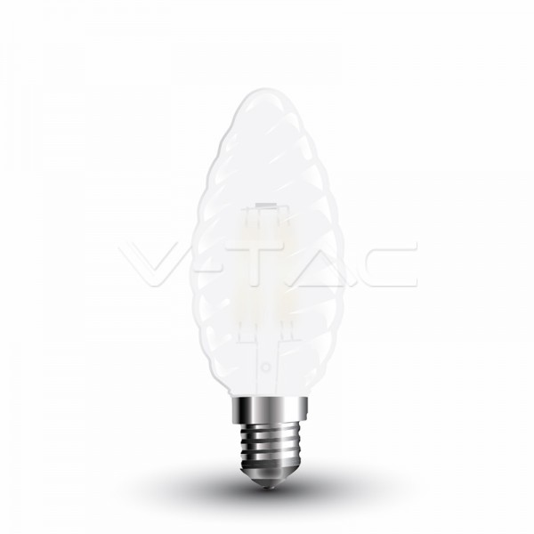 LED Крушка - 4W Filament E14 Кръстосан Кендъл Спирала Мат Топло Бяла Светлина