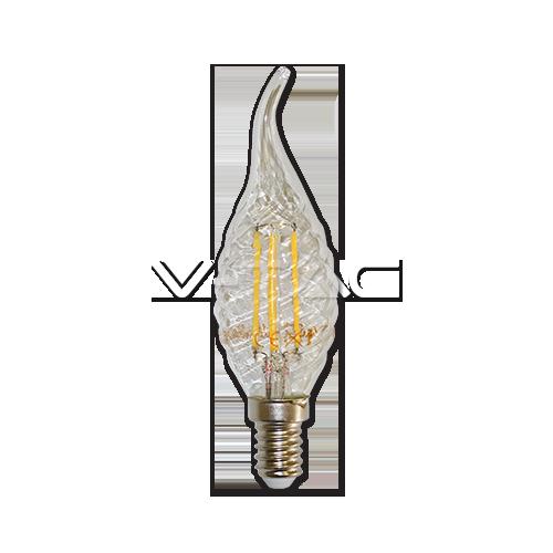 LED Крушка - 4W Filament E14 Кендъл Спирала Пламък