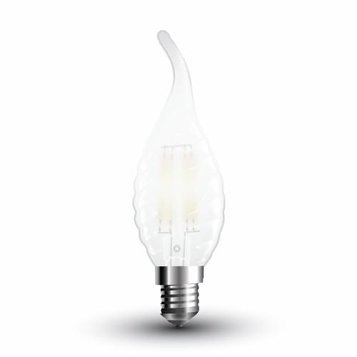 LED Крушка - 4W Filament E14 Матирано Покритие Кендъл Спирала Пламък