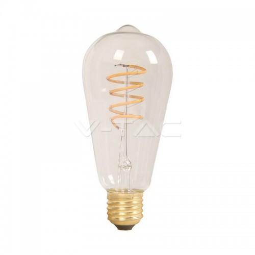 LED Крушка - 4W Filament E27 ST64 Amber Топло Бяла Светлина