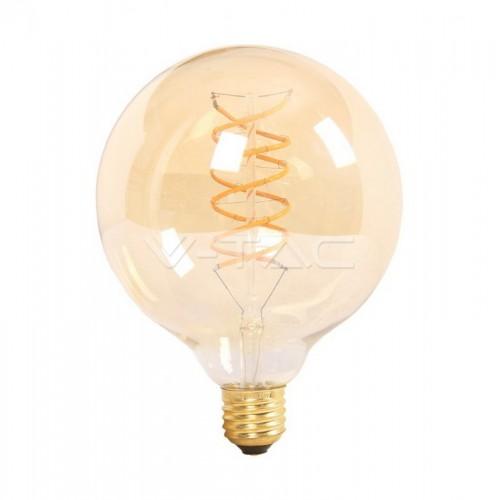 LED Крушка - 6W Filament E27 G125 Amber Топло Бяла Светлина
