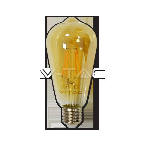 LED Крушка - 4W E27 Filament ST64 Топло Бяла Светлина Димируема