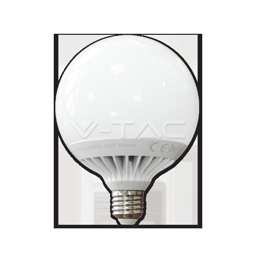 LED Крушка - 13W E27 G120 Глобус Термо Пластик Топло Бяла Светлина Димируема