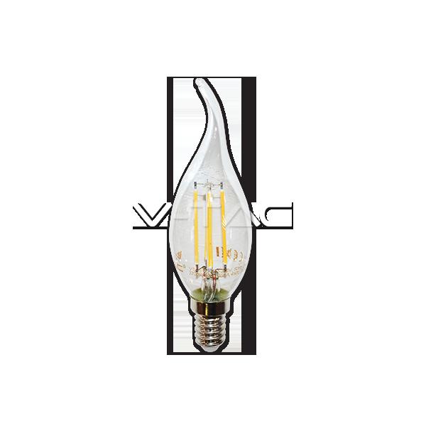 LED Крушка - 4W Filament E14 Кендъл Пламък Топло Бяла Светлина Димируема